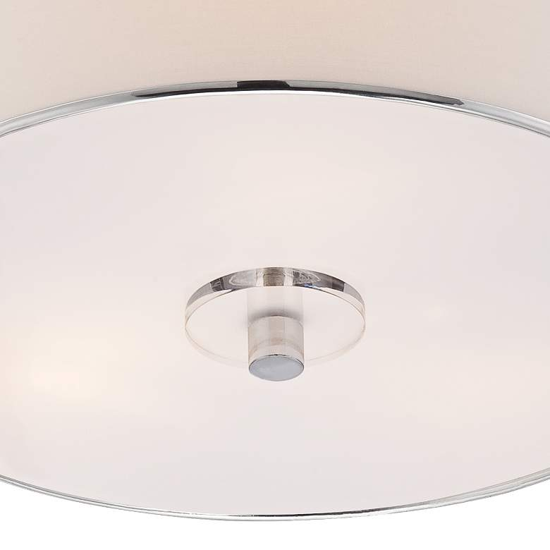 "Elsa 16"" Wide White Fabric Drum Shade Ceiling Light more views"