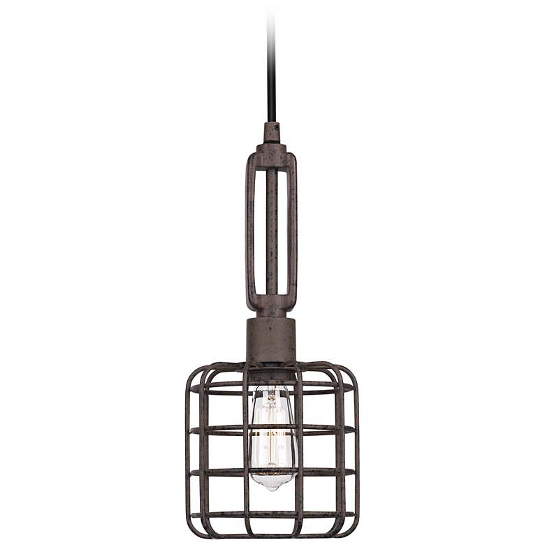 "Industrial Cage 7"" Wide Rust Metal Mini Pendant Light more views"