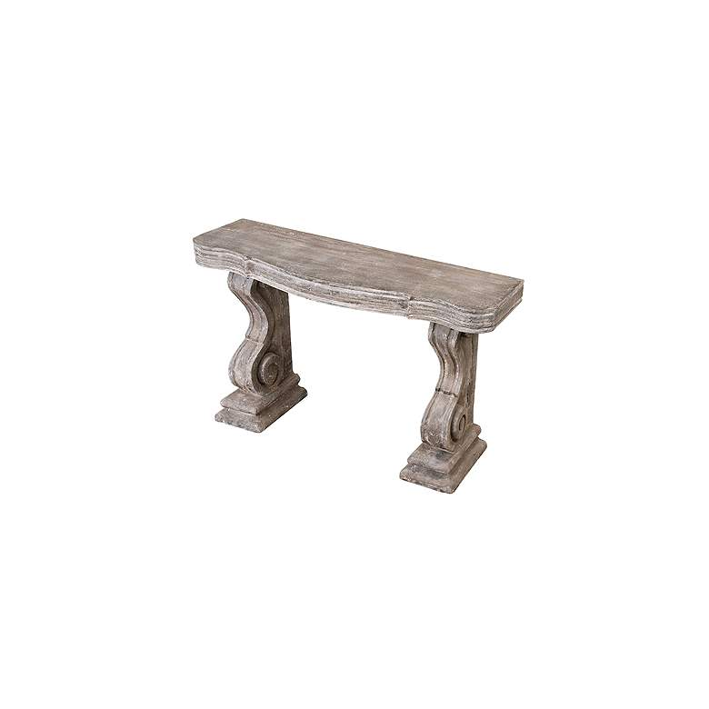 "Partemio 60"" Wide Distressed Stone Finish Wood Console Table more views"