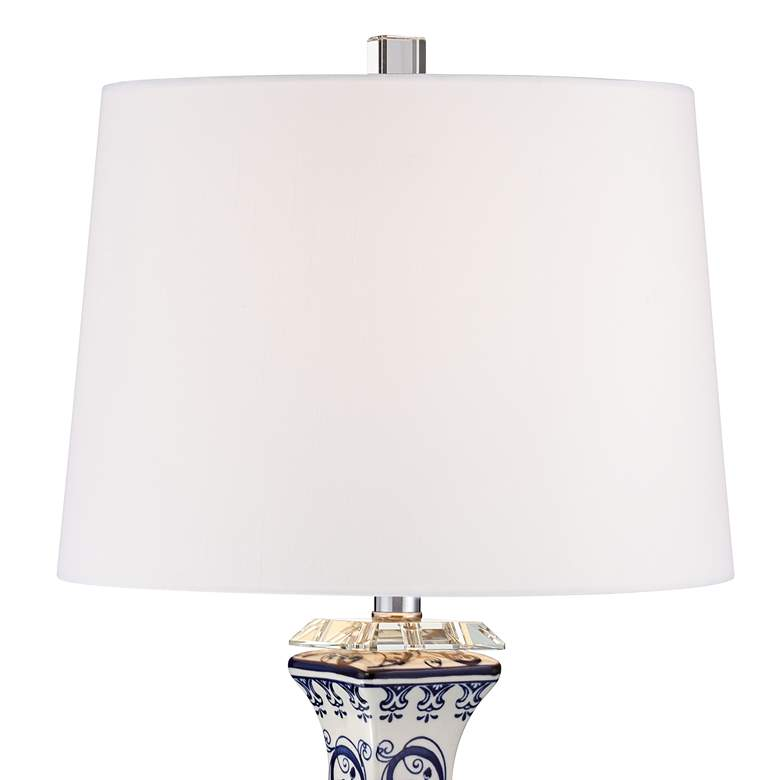 Iris Blue And White Porcelain With Crystal Table Lamp more views