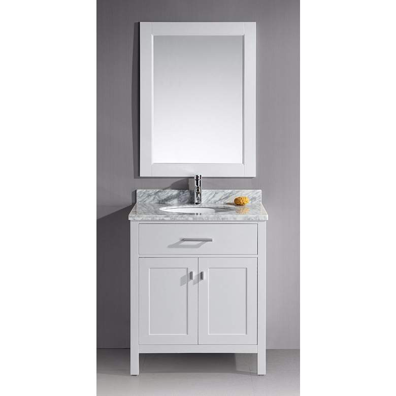"London 30"" Wide White Single Sink Vanity Set more views"