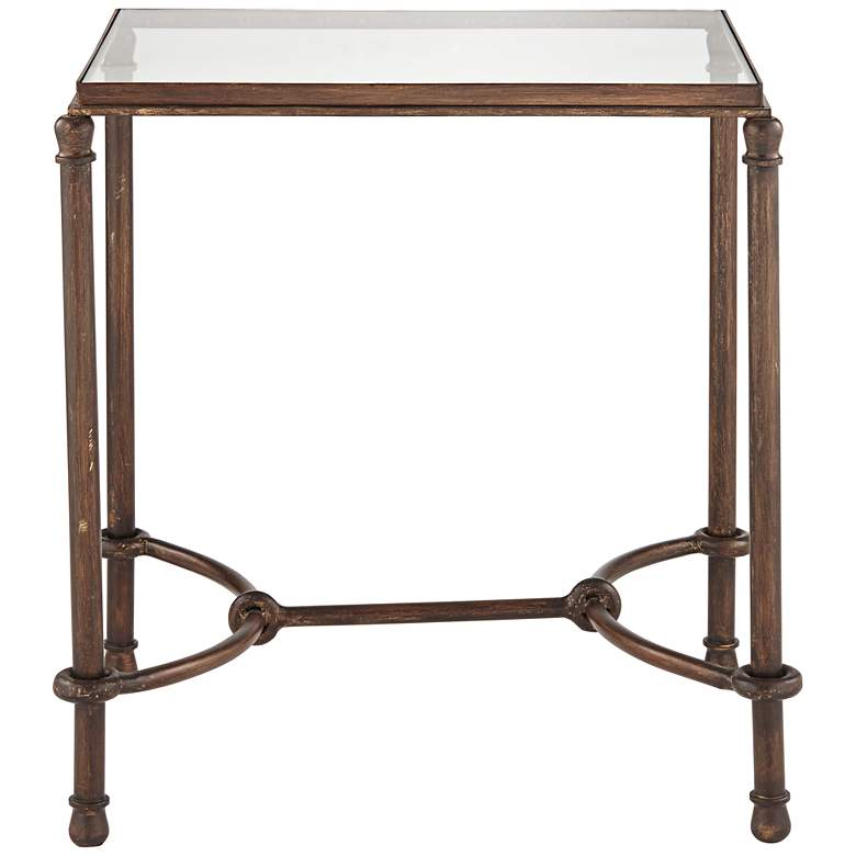"Uttermost 25"" Wide Warring Rustic Bronze and Glass End Table more views"