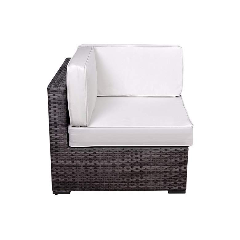 Aquitaine White and Gray Wicker Loveseat Patio Seating Set more views