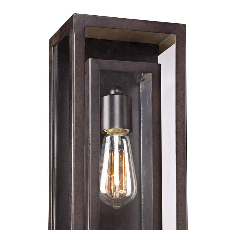 "Double Box 15 1/2"" High Clear Glass and Bronze Wall Light more views"