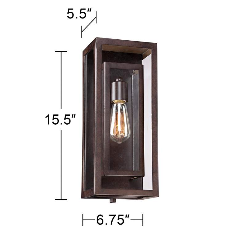 """Double Box 15 1/2"""" High Clear Glass and Bronze Wall Light more views"""