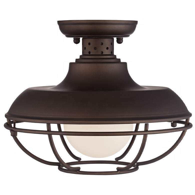 "Franklin Park 12"" Wide Bronze Metal Cage Ceiling Light more views"