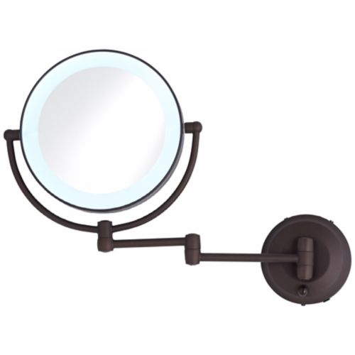 Cordless LED Pivoting Bronze Wall Mount Mirror