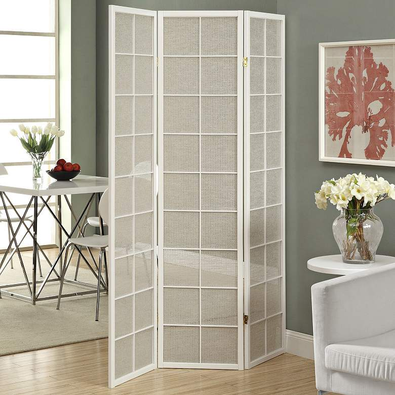 "Kenna 52"" Wide White Frame 3-Panel Folding Screen more views"