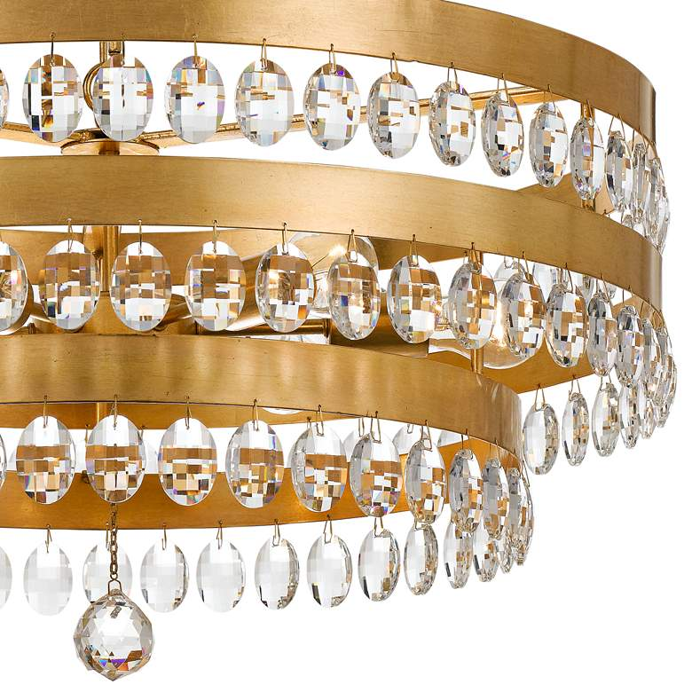 "Crystorama Perla 26""W Antique Gold and Crystal Chandelier more views"
