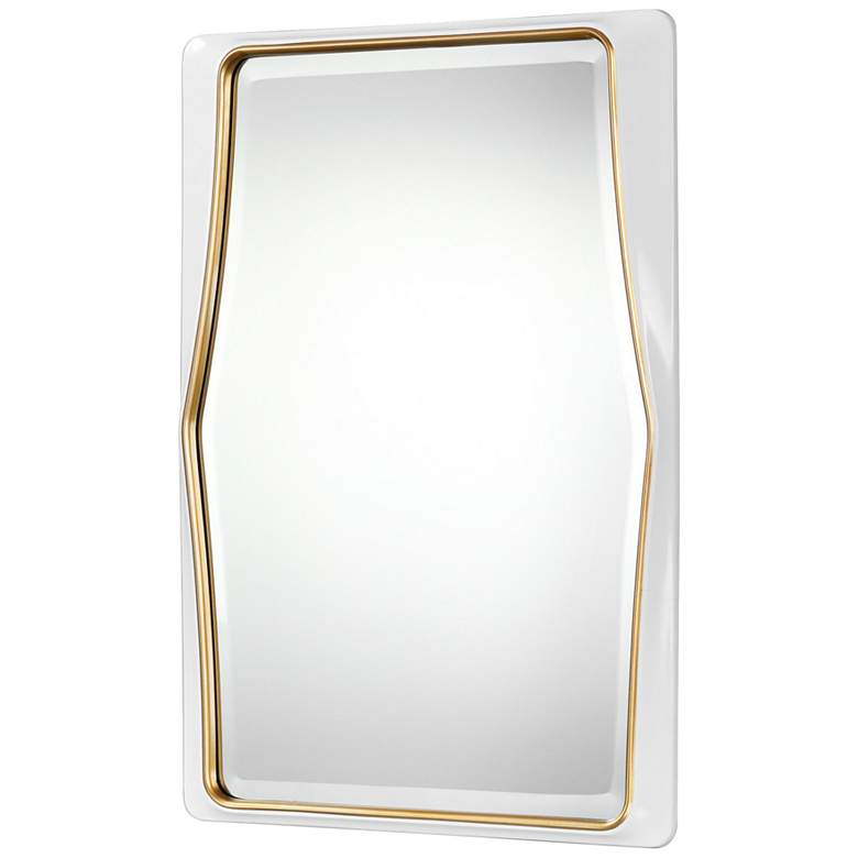 "Colleen White and Gold Leaf 22"" x 32 1/2"" Wall Mirror more views"