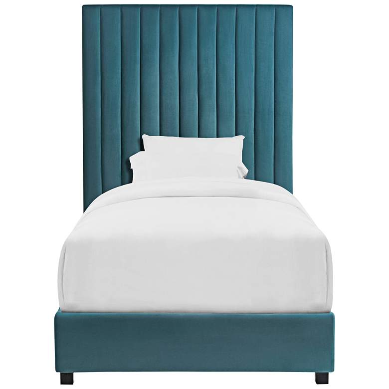 Arabelle Sea Blue Velvet Channel Tufted Twin Bed more views