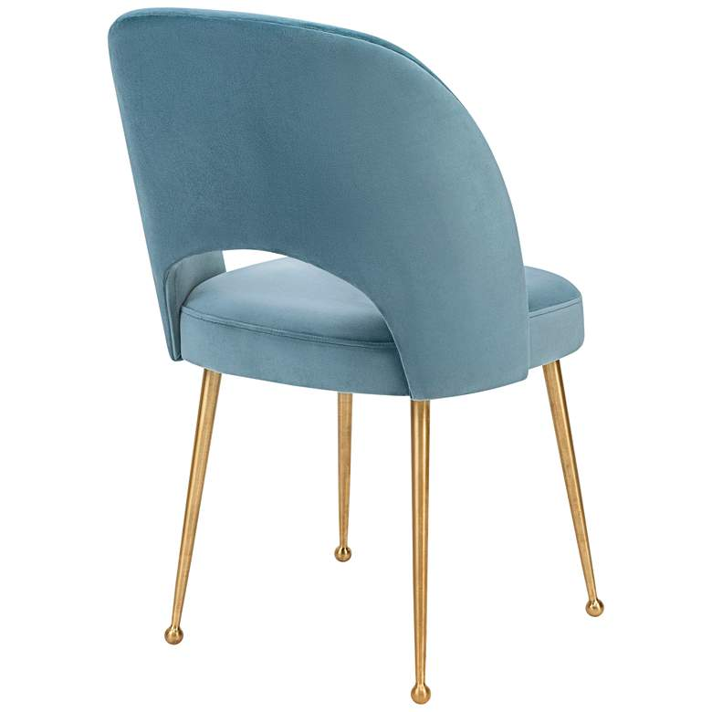 Swell Sea Blue Velvet Dining Chair more views