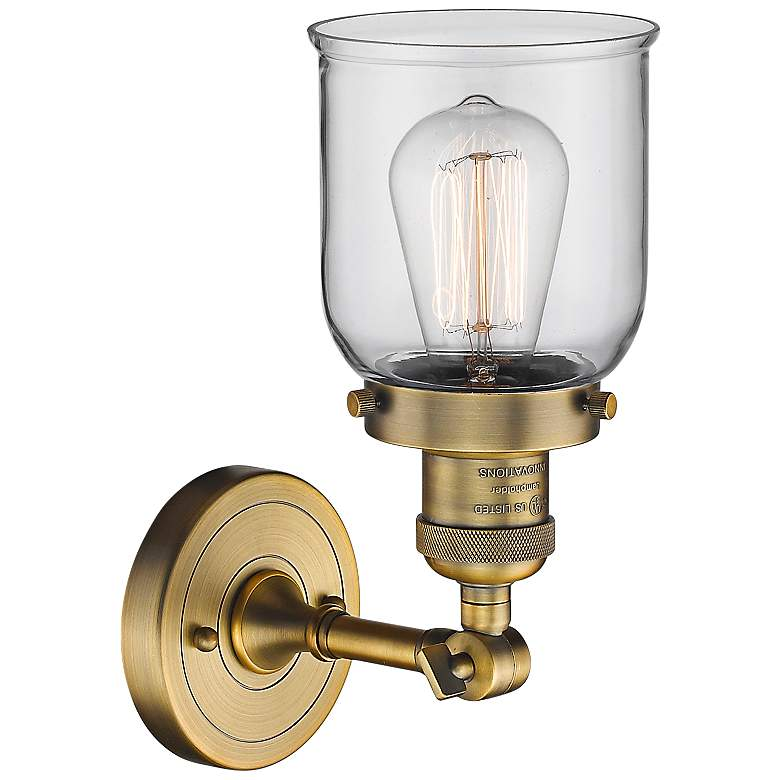 "Small Bell 10"" High Brushed Brass Adjustable Wall Sconce more views"