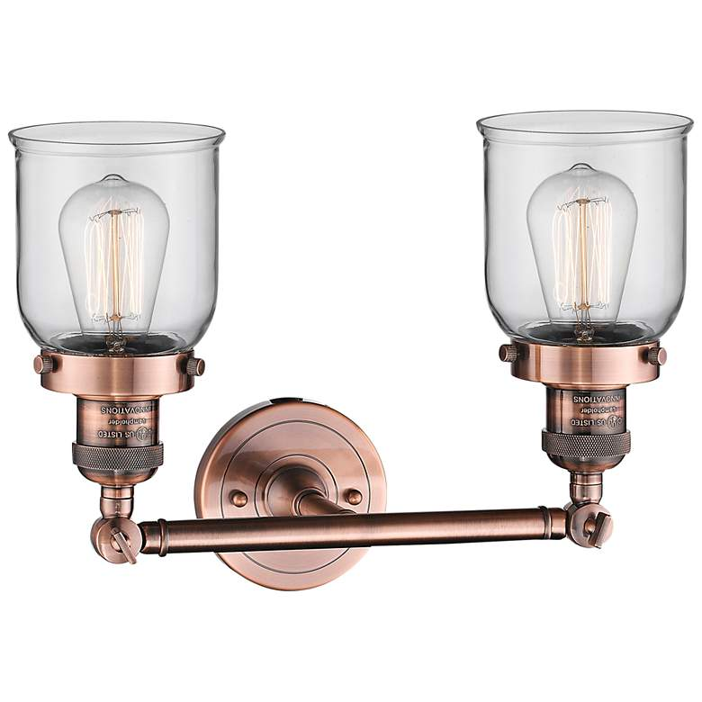 "Small Bell 10"" High Copper 2-Light Adjustable Wall Sconce more views"