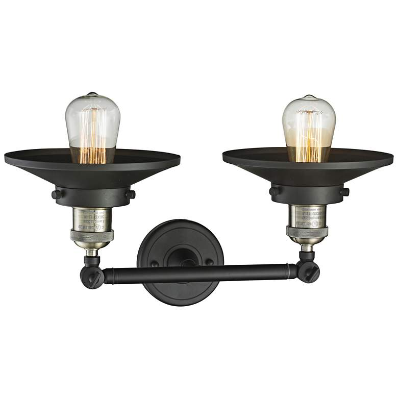 "Railroad 8""H Black and Brass 2-Light Adjustable Wall Sconce more views"