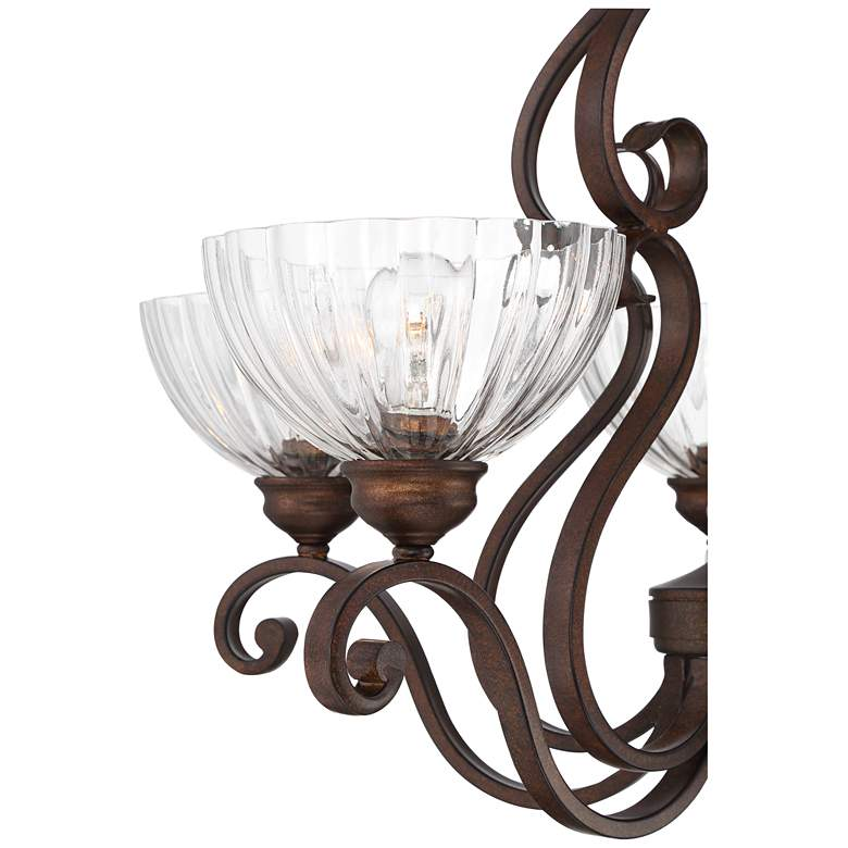 "Iron Scroll 27""W Bronze and Clear Glass 5-Light Chandelier more views"