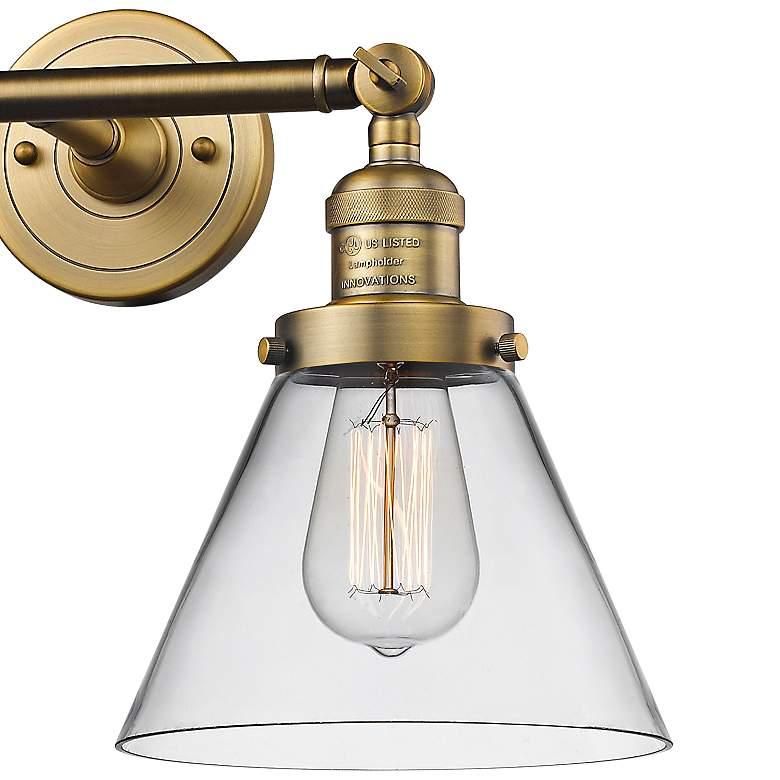 "Large Cone 11""H Brushed Brass 2-Light Adjustable Wall Sconce more views"