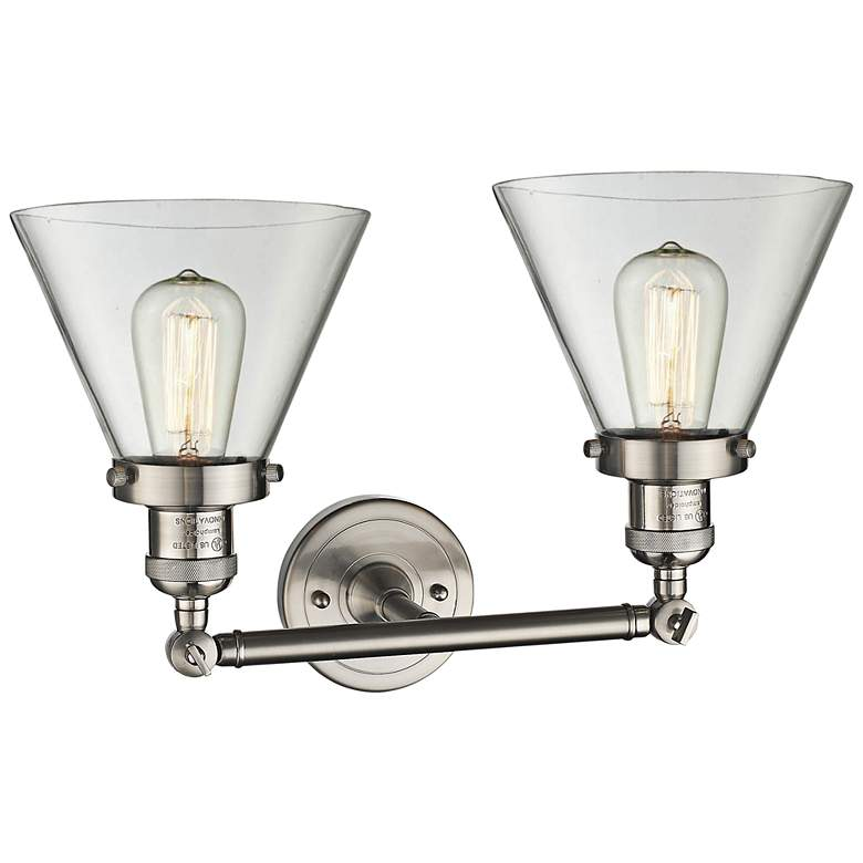 "Large Cone 11""H Satin Nickel 2-Light Adjustable Wall Sconce more views"