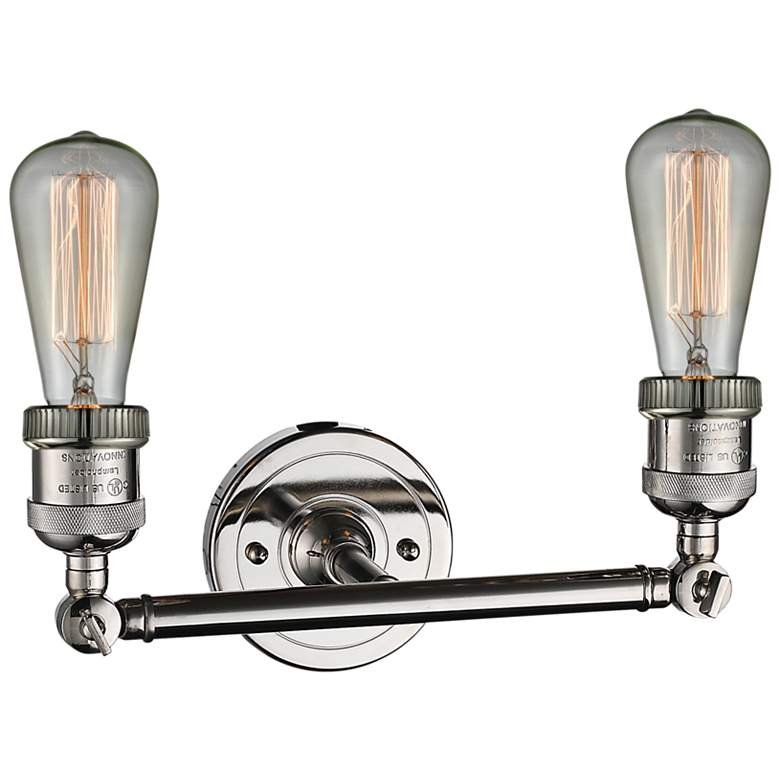 "Bare Bulb 5""H Polished Nickel 2-Light Adjustable Wall Sconce more views"