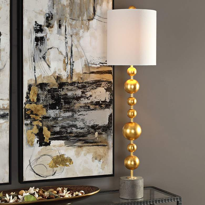 Selim Metallic Gold Leaf Stacked Spheres Buffet Table Lamp more views