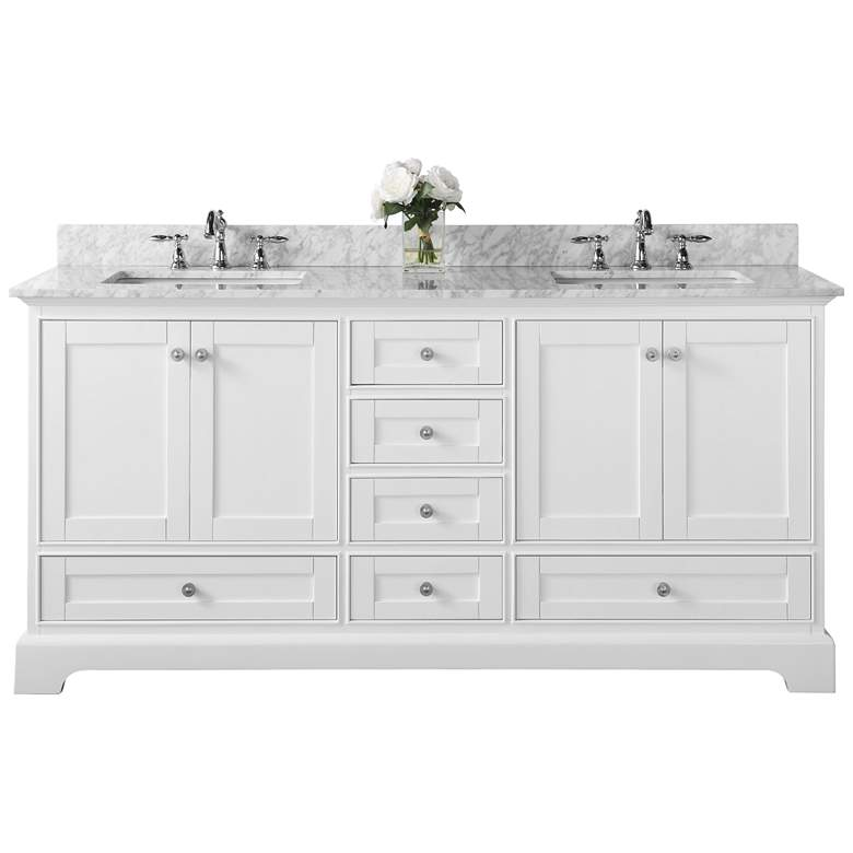 "Audrey 72"" White 6-Drawer Double Sink Vanity more views"