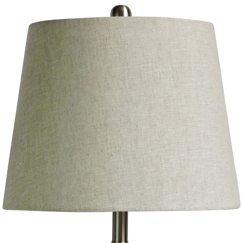 Alexa White Marble and Polished Nickel Pyramid Table Lamp more views