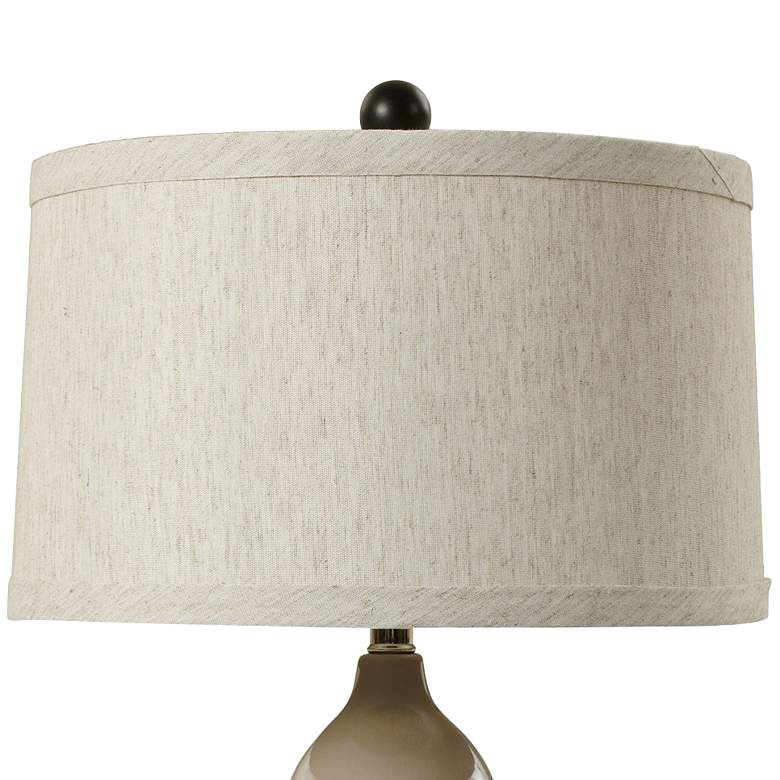 Alyssa Warm Gray Elongated Stacked Gourd Ceramic Table Lamp more views