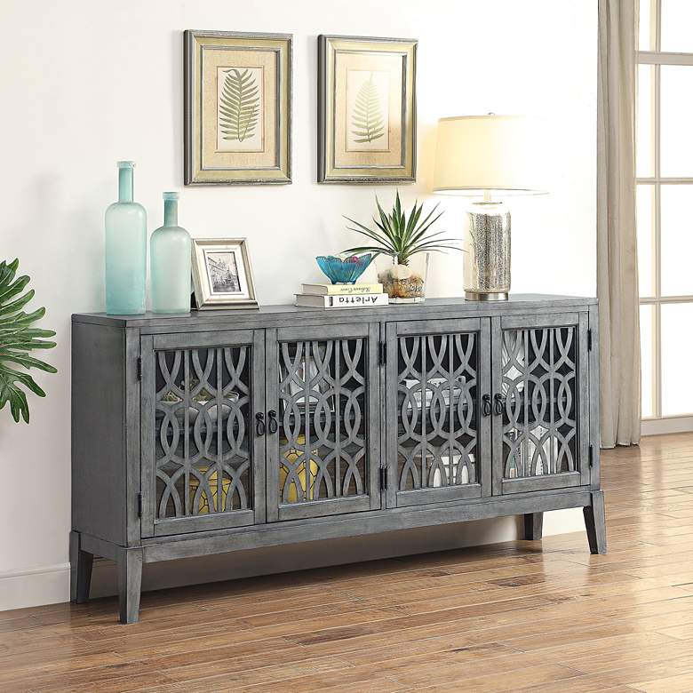 "Quinn Magnet 72"" Wide Burnished Gray 4-Door Media Credenza more views"