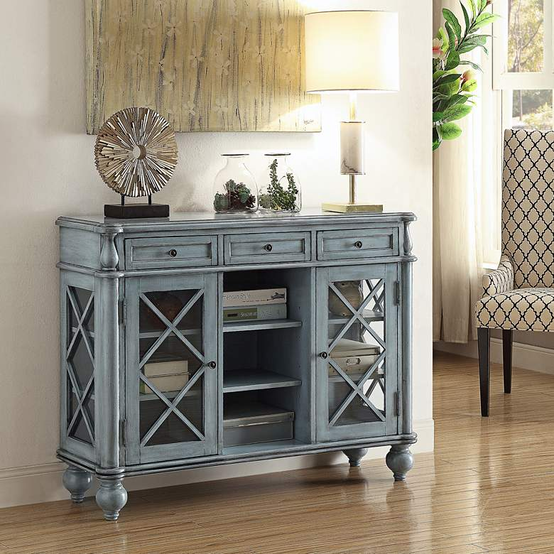 "Dayna  48"" Wide Antiqued Blue Wood Credenza with Glass Doors more views"