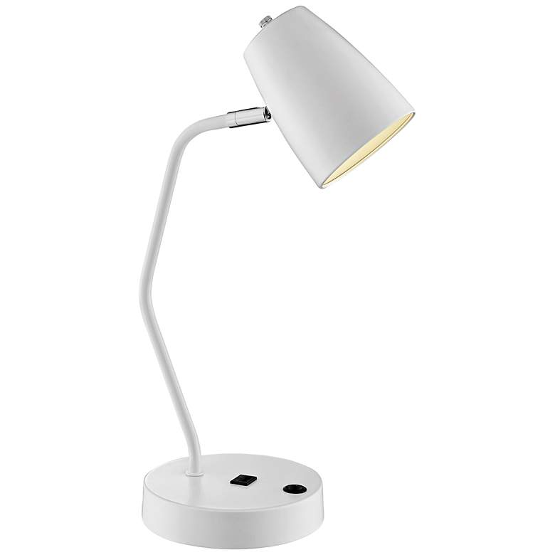 Lite Source Ronnie White Metal Desk Lamp with USB Port more views