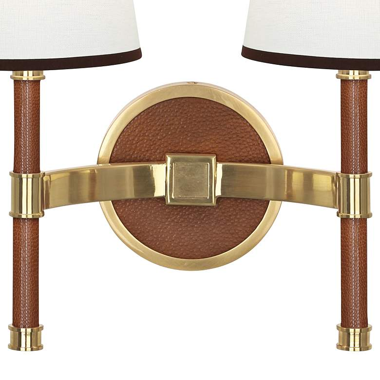 Voltaire Modern Brass And Saddle Leather Double Wall Lamp more views