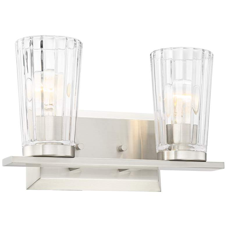 "Possini Euro Porter 13""W Beveled Glass 2-Light Bath Light more views"