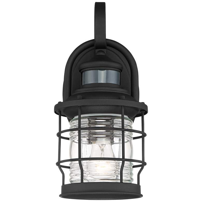 "Maryland 12""H Black Caged Motion Sensor Outdoor Wall Light more views"
