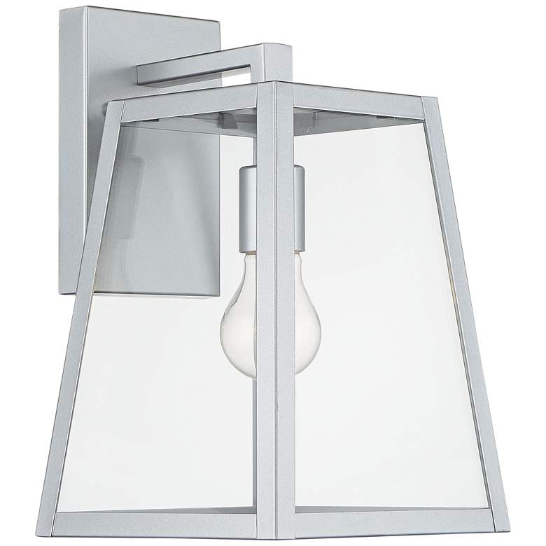 "Arrington 13"" High Glass and Silver Outdoor Wall Light more views"