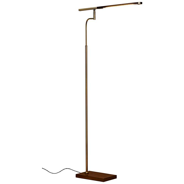 Barrett Walnut and Brass Adjustable Modern LED Floor Lamp more views