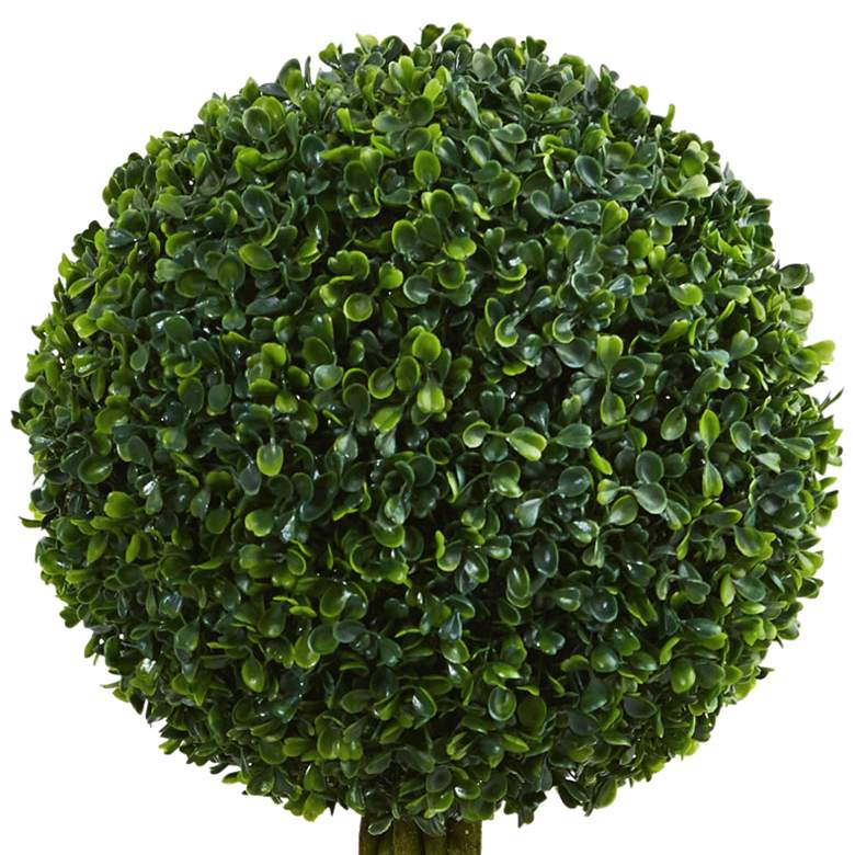 "Green Boxwood Ball Topiary 30""H Faux Plant in Oval Planter more views"
