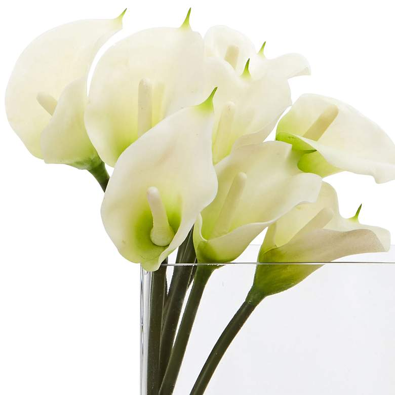 "White Calla Lily 12""W Faux Flowers in Rectangular Glass Vase more views"