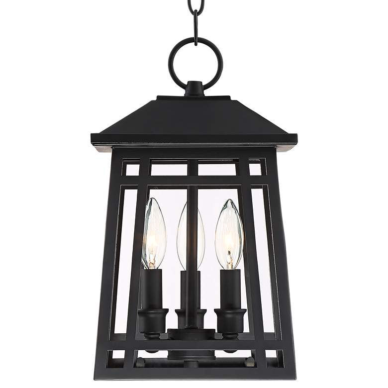 "East Ridge 13 1/2"" High Black Caged Outdoor Hanging Light more views"