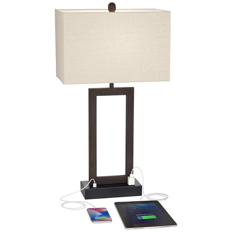 Todd Bronze Finish Metal Table Lamp with USB Port and Outlet more views