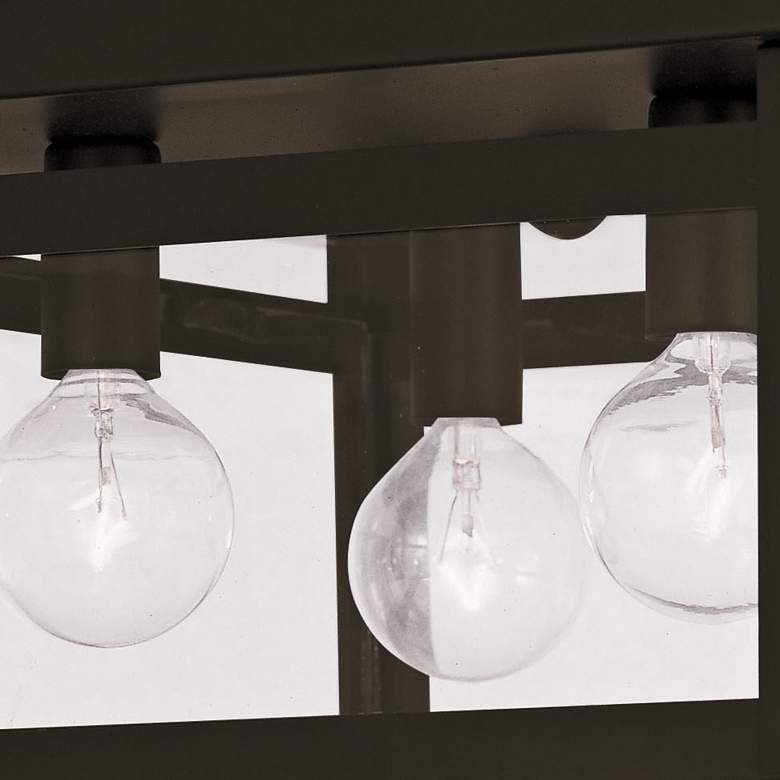 "Milford 11"" Wide Brze and Glass 4-Light Sq Ceiling Light more views"