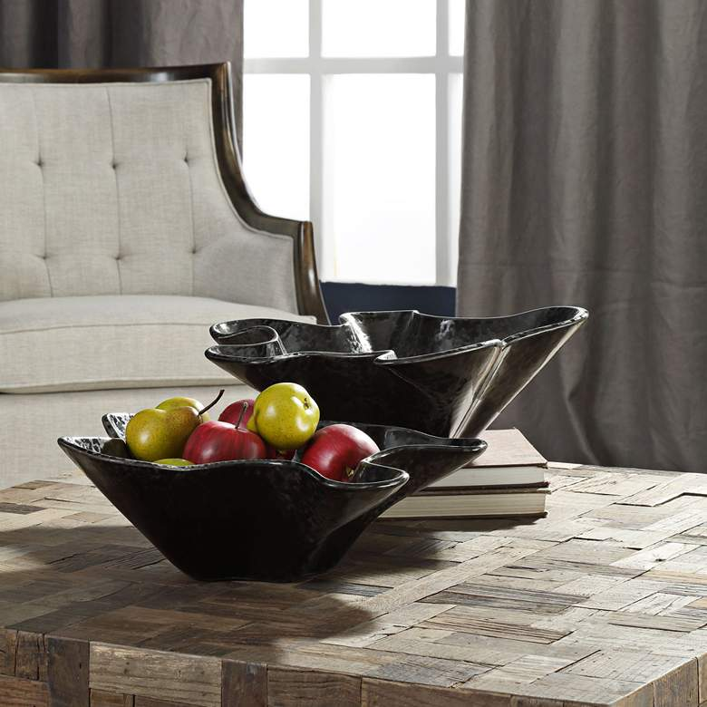 Colson Charcoal Black Modern Ceramic Bowls - Set of 2 more views