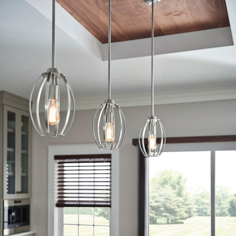 "Kichler Tao 8"" Wide Brushed Nickel Mini Pendant more views"