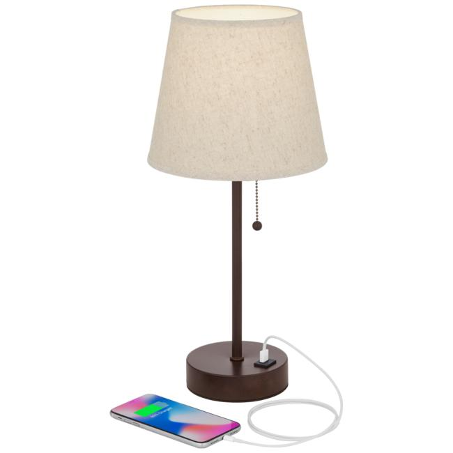 Justin Bronze USB Accent Table Lamps - Set of 2