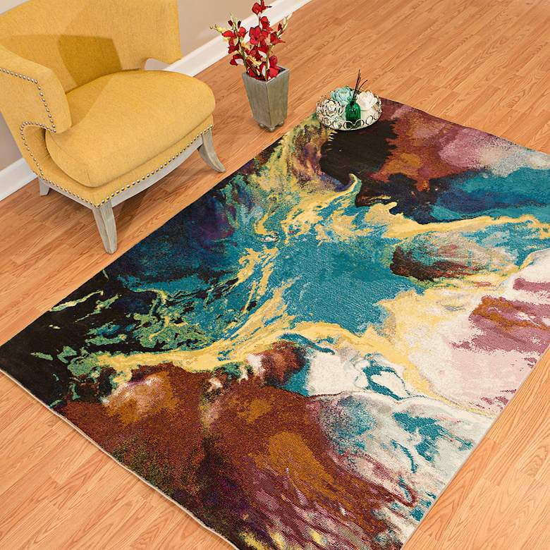 "Rhapsody Nebula 7'10""x10'6"" Multi-Color Oversize Area Rug more views"