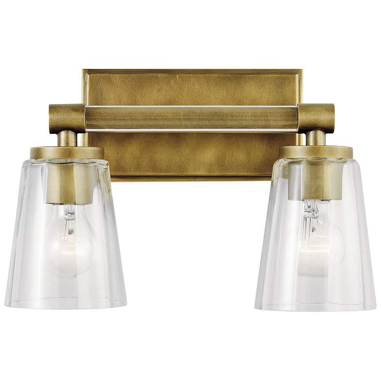 "Kichler Audrea 9 1/2"" High Natural Brass 2-Light Wall Sconce more views"