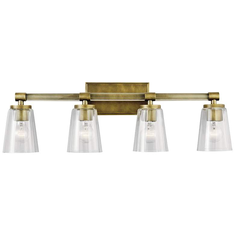"Kichler Audrea 30 1/4"" Wide Natural Brass 4-Light Bath Light more views"