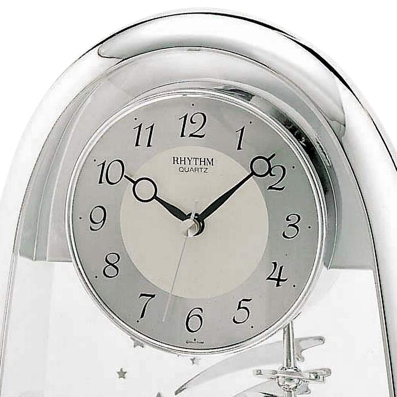 "Silver Space in Motion 9 1/2"" High Chrome Table Clock more views"