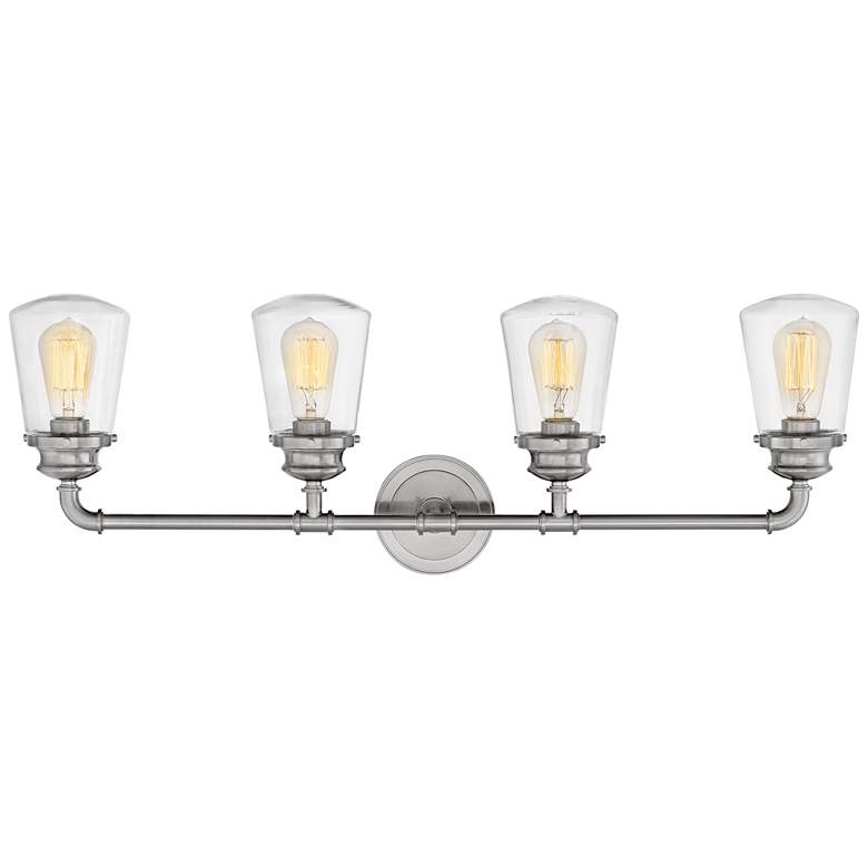 "Hinkley Fritz 33 3/4"" Wide Brushed Nickel 4-Light Bath Light more views"