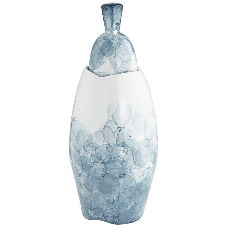 "Blue and White 16 1/2"" High Floral Ceramic Storage Jar more views"