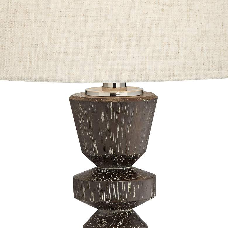 Albert Wood Finish Modern USB Table Lamps Set of 2 more views